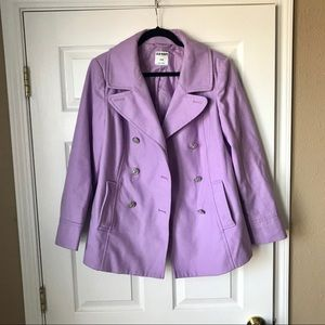 Old Navy wool blend double breasted purple peacoat